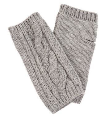 Grey Ribbed Handwarmers - predominant colour: light grey; occasions: casual; type of pattern: light; style: fingerless; length: half; material: knits; pattern: knit; wardrobe: basic; season: a/w 2016