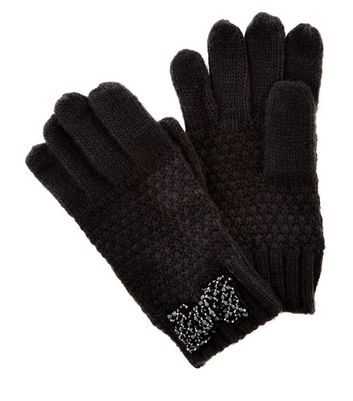 Black Embellished Bow Gloves - predominant colour: black; occasions: casual, creative work; type of pattern: standard; style: standard; length: wrist; material: knits; pattern: plain; wardrobe: basic; season: a/w 2016
