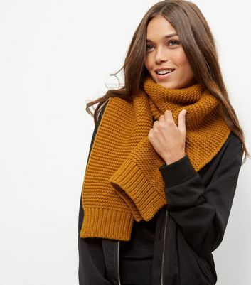 Brown Ribbed Knitted Scarf - predominant colour: mustard; occasions: casual; type of pattern: standard; style: regular; size: standard; material: knits; pattern: plain; season: a/w 2016; wardrobe: highlight