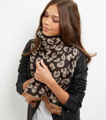 Brown Animal Print Scarf - predominant colour: chocolate brown; occasions: casual, creative work; type of pattern: heavy; style: regular; size: standard; material: fabric; pattern: animal print; season: a/w 2016