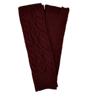Burgundy Cable Knit Handwarmers - predominant colour: burgundy; occasions: casual; type of pattern: light; style: fingerless; length: elbow; material: knits; pattern: knit; season: a/w 2016; wardrobe: highlight