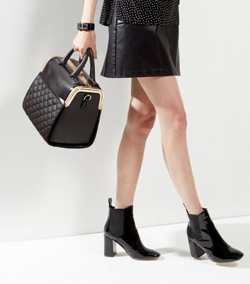Black Quilted Box Tote - secondary colour: gold; predominant colour: black; occasions: work, creative work; type of pattern: standard; style: structured bag; length: handle; size: standard; material: faux leather; embellishment: quilted; pattern: plain; finish: plain; wardrobe: investment; season: a/w 2016