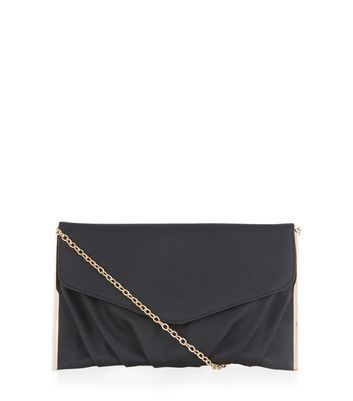 Black Textured Metal Bar Trim Clutch - predominant colour: black; occasions: evening, occasion; type of pattern: standard; style: clutch; length: hand carry; size: small; material: satin; pattern: plain; finish: plain; season: a/w 2016; wardrobe: event