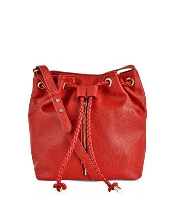 Red Zip Front Duffle Bag - predominant colour: true red; occasions: casual, creative work; type of pattern: standard; style: onion bag; length: across body/long; size: standard; material: faux leather; pattern: plain; finish: plain; season: a/w 2016; wardrobe: highlight