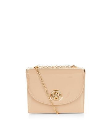 Stone Patent Box Shoulder Bag - predominant colour: nude; secondary colour: gold; occasions: casual, creative work; type of pattern: standard; style: shoulder; length: shoulder (tucks under arm); size: small; material: faux leather; pattern: plain; finish: plain; embellishment: chain/metal; season: a/w 2016