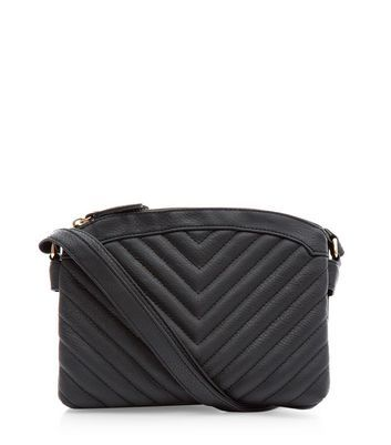 Black Chevron Quilted Across Body Bag - predominant colour: black; occasions: casual, creative work; type of pattern: standard; style: shoulder; length: across body/long; size: standard; material: faux leather; embellishment: quilted; pattern: plain; finish: plain; wardrobe: investment; season: a/w 2016