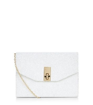 White Glitter Metal Trim Twist Lock Box Clutch - predominant colour: white; secondary colour: gold; occasions: evening, occasion; type of pattern: standard; style: clutch; length: hand carry; size: standard; material: faux leather; embellishment: glitter; pattern: plain; finish: plain; season: a/w 2016; wardrobe: event