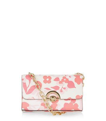 Pink Floral Print Chunky Chain Shoulder Bag - predominant colour: pink; occasions: casual, creative work; type of pattern: heavy; style: shoulder; length: shoulder (tucks under arm); size: small; material: faux leather; pattern: florals; finish: plain; embellishment: chain/metal; season: a/w 2016; wardrobe: highlight