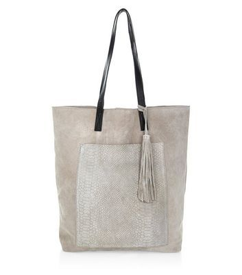 Grey Premium Suede Snakeskin Texture Pocket Shopper Bag - predominant colour: light grey; occasions: casual, creative work; type of pattern: standard; style: tote; length: handle; size: standard; material: suede; embellishment: tassels; pattern: plain; finish: plain; season: a/w 2016