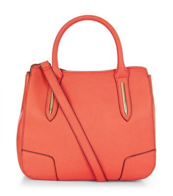 Orange Mini Structured Tote Bag - predominant colour: bright orange; occasions: casual, creative work; type of pattern: standard; style: tote; length: handle; size: standard; material: faux leather; pattern: plain; finish: plain; season: a/w 2016; wardrobe: highlight