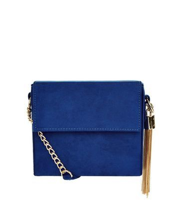 Tassel Chain Shoulder Bag - predominant colour: royal blue; secondary colour: gold; type of pattern: standard; style: shoulder; length: across body/long; size: standard; material: suede; pattern: plain; finish: plain; embellishment: chain/metal; occasions: creative work; season: a/w 2016