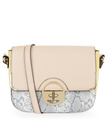 Yellow Colour Block Twist Lock Boxy Shoulder Bag - predominant colour: nude; secondary colour: light grey; occasions: casual, creative work; type of pattern: standard; style: saddle; length: across body/long; size: small; material: faux leather; pattern: animal print; finish: plain; season: a/w 2016; wardrobe: highlight