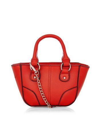 Red Contrast Trim Mini Tote Bag - predominant colour: true red; secondary colour: gold; type of pattern: standard; style: tote; length: handle; size: small; material: faux leather; pattern: plain; finish: plain; occasions: creative work; season: a/w 2016