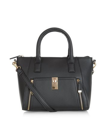 Black Zip Pocket Structured Bag - predominant colour: black; occasions: work; type of pattern: standard; style: tote; length: handle; size: standard; material: faux leather; pattern: plain; finish: plain; wardrobe: investment; season: a/w 2016