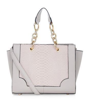 Mink Snakeskin Panel Chain Strap Tote Bag - predominant colour: lilac; type of pattern: light; style: tote; length: handle; size: standard; material: faux leather; pattern: animal print; finish: plain; embellishment: chain/metal; occasions: creative work; season: a/w 2016; wardrobe: highlight