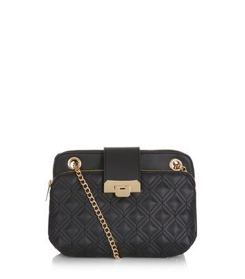 Black Quilted Shoulder Bag - secondary colour: gold; predominant colour: black; occasions: evening; type of pattern: standard; style: shoulder; length: across body/long; size: standard; material: faux leather; pattern: plain; finish: plain; embellishment: chain/metal; season: a/w 2016; wardrobe: event