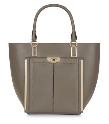 Mink Leather Look Tote Bag - predominant colour: taupe; secondary colour: gold; occasions: casual, creative work; type of pattern: standard; style: tote; length: handle; size: oversized; material: faux leather; pattern: plain; finish: plain; wardrobe: investment; season: a/w 2016