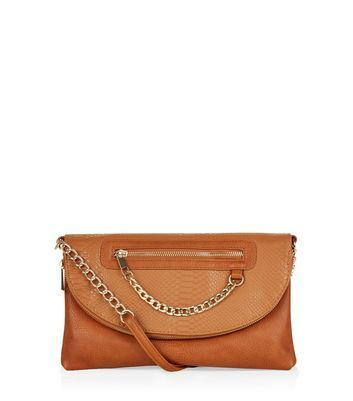 Tan Snakeskin Textured Chain Zip Clutch - predominant colour: tan; secondary colour: gold; occasions: evening, occasion; type of pattern: standard; style: clutch; length: hand carry; size: standard; material: faux leather; pattern: plain; finish: plain; embellishment: chain/metal; season: a/w 2016; wardrobe: event
