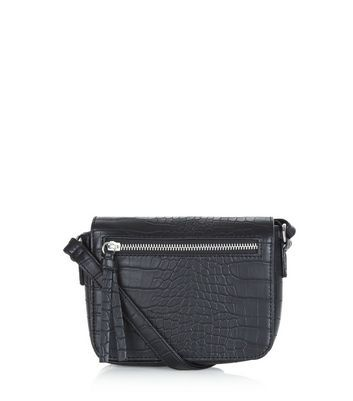 Black Snakeskin Texture Across Body Bag - predominant colour: black; occasions: casual, work, creative work; type of pattern: light; style: saddle; length: across body/long; size: standard; material: faux leather; pattern: animal print; finish: plain; season: a/w 2016; wardrobe: highlight