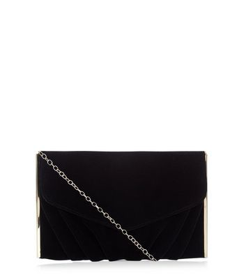 Black Velvet Clutch - predominant colour: black; occasions: evening, occasion; type of pattern: standard; style: clutch; length: hand carry; size: small; material: velvet; pattern: plain; finish: plain; season: a/w 2016; wardrobe: event