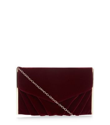 Red Velvet Clutch - predominant colour: burgundy; occasions: evening, occasion; type of pattern: standard; style: clutch; length: hand carry; size: small; material: velvet; pattern: plain; finish: plain; season: a/w 2016; wardrobe: event
