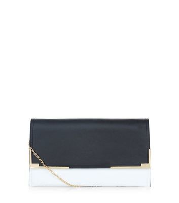 Black Colour Block Metal Trim Clutch - secondary colour: white; predominant colour: black; occasions: evening, occasion; type of pattern: standard; style: clutch; length: hand carry; size: standard; material: faux leather; finish: plain; pattern: colourblock; embellishment: chain/metal; season: a/w 2016; wardrobe: event