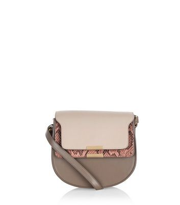Mink Colour Block Shoulder Bag - predominant colour: taupe; occasions: casual, creative work; type of pattern: standard; style: saddle; length: across body/long; size: small; material: faux leather; finish: plain; pattern: colourblock; season: a/w 2016; wardrobe: highlight