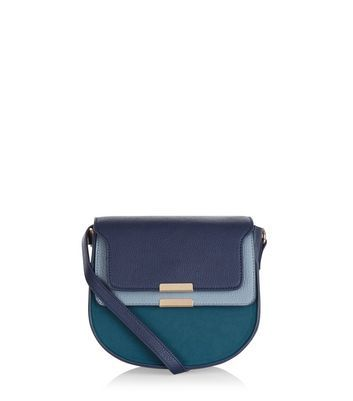 Blue Colour Block Shoulder Bag - predominant colour: navy; secondary colour: turquoise; occasions: casual; type of pattern: light; style: shoulder; length: shoulder (tucks under arm); size: small; material: faux leather; finish: plain; pattern: colourblock; multicoloured: multicoloured; season: a/w 2016