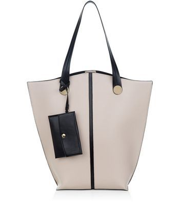 Cream Contrast Trim Tote Bag - predominant colour: stone; secondary colour: black; occasions: casual, creative work; type of pattern: standard; style: tote; length: handle; size: oversized; material: faux leather; finish: plain; pattern: colourblock; season: a/w 2016