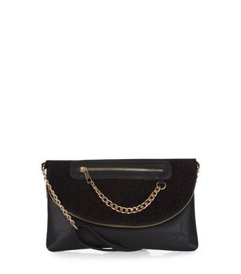 Black Chain Zip Clutch - predominant colour: black; occasions: evening, occasion; type of pattern: standard; style: clutch; length: hand carry; size: standard; material: faux leather; pattern: plain; finish: plain; embellishment: chain/metal; season: a/w 2016; wardrobe: event