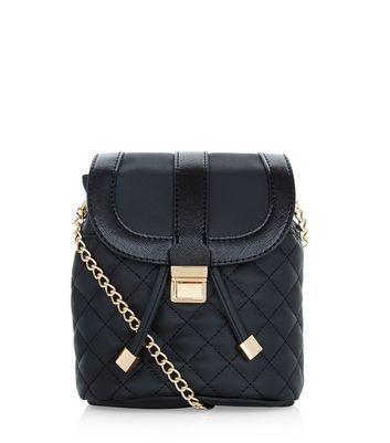 Black Quilted Duffle Chain Shoulder Bag - predominant colour: black; occasions: casual, creative work; type of pattern: standard; style: shoulder; length: shoulder (tucks under arm); size: standard; material: faux leather; pattern: plain; finish: plain; embellishment: chain/metal; wardrobe: investment; season: a/w 2016