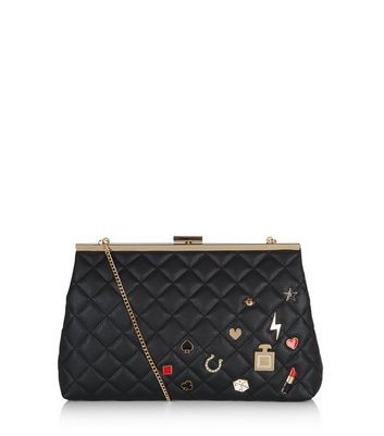 Black Quilted Badge Clutch - secondary colour: true red; predominant colour: black; occasions: evening; type of pattern: standard; style: clutch; length: hand carry; size: standard; material: faux leather; embellishment: quilted; pattern: plain; finish: plain; season: a/w 2016; wardrobe: event