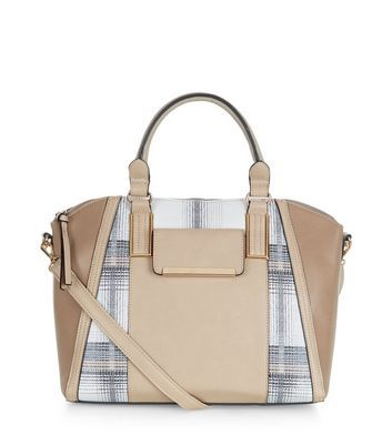 Stone Check Bowler Bag - predominant colour: camel; occasions: casual, creative work; type of pattern: light; style: bowling; length: handle; size: standard; material: faux leather; pattern: checked/gingham; finish: plain; season: a/w 2016; wardrobe: highlight