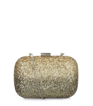 Gold Glitter Box Shoulder Bag - predominant colour: gold; occasions: evening, occasion; type of pattern: standard; style: clutch; length: across body/long; size: standard; material: plastic/rubber; embellishment: glitter; pattern: plain; finish: metallic; season: a/w 2016; wardrobe: event