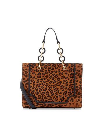 Brown Leopard Print Tote Bag - predominant colour: tan; secondary colour: black; occasions: casual, creative work; type of pattern: standard; style: tote; length: shoulder (tucks under arm); size: standard; pattern: animal print; finish: plain; material: faux suede; season: a/w 2016; wardrobe: highlight