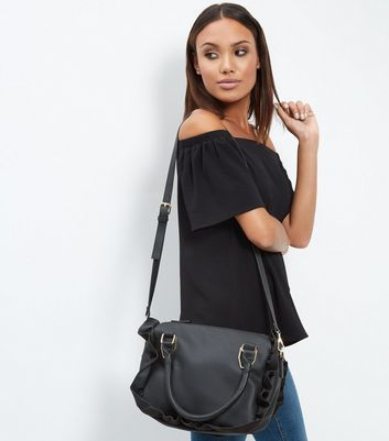 Black Frill Trim Tote Bag - predominant colour: black; occasions: casual, creative work; type of pattern: standard; style: tote; length: shoulder (tucks under arm); size: standard; material: faux leather; pattern: plain; finish: plain; season: a/w 2016