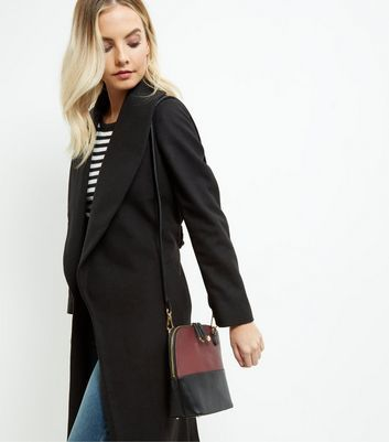 Dark Red Colour Block Across Body Bag - predominant colour: burgundy; occasions: casual, work, creative work; type of pattern: standard; style: messenger; length: across body/long; size: standard; material: faux leather; finish: plain; pattern: colourblock; season: a/w 2016; wardrobe: highlight
