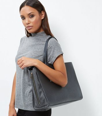 Black Popper Tote Bag - predominant colour: mid grey; occasions: casual, creative work; type of pattern: standard; style: tote; length: handle; size: standard; material: faux leather; pattern: plain; finish: plain; wardrobe: investment; season: a/w 2016