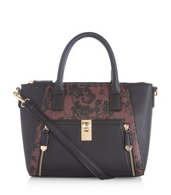 Burgundy Floral Print Panel Tote Bag - predominant colour: black; occasions: casual, creative work; type of pattern: standard; style: tote; length: handle; size: standard; material: faux leather; pattern: animal print; finish: plain; multicoloured: multicoloured; season: a/w 2016; wardrobe: highlight