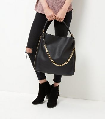 Black Chain Strap Shoulder Bag - secondary colour: gold; predominant colour: black; occasions: casual, creative work; type of pattern: standard; style: shoulder; length: shoulder (tucks under arm); size: oversized; material: faux leather; pattern: plain; finish: plain; embellishment: chain/metal; wardrobe: investment; season: a/w 2016