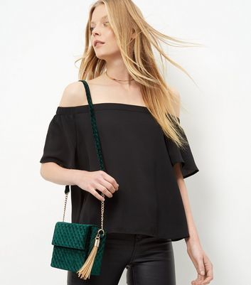 Dark Green Velvet Quilted Shoulder Bag - predominant colour: dark green; secondary colour: gold; occasions: casual, creative work; type of pattern: standard; style: shoulder; length: shoulder (tucks under arm); size: small; material: velvet; embellishment: tassels; pattern: plain; finish: plain; season: a/w 2016; wardrobe: highlight