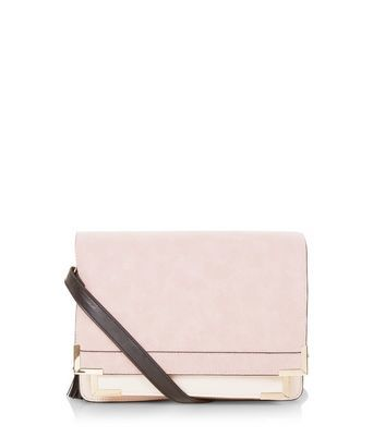 Pink Contrast Square Satchel - predominant colour: blush; occasions: evening; type of pattern: standard; style: clutch; length: hand carry; size: small; material: faux leather; pattern: plain; finish: plain; season: a/w 2016