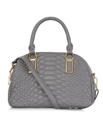 Grey Snakeskin Texture Quilted Bowler Bag - predominant colour: mid grey; occasions: casual, creative work; type of pattern: standard; style: bowling; length: handle; size: standard; material: faux leather; embellishment: quilted; pattern: plain; finish: plain; wardrobe: investment; season: a/w 2016