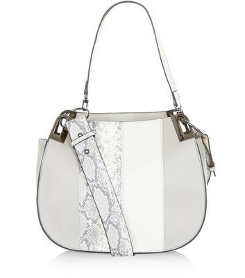 Grey Snakeskin Print Panel Shoulder Bag - predominant colour: light grey; occasions: casual, creative work; type of pattern: heavy; style: shoulder; length: across body/long; size: standard; material: faux leather; pattern: animal print; finish: plain; season: a/w 2016; wardrobe: highlight