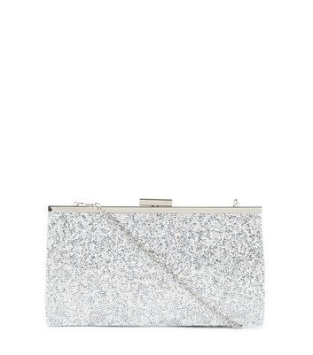Silver Glitter Clutch - predominant colour: silver; occasions: evening, occasion; type of pattern: standard; style: clutch; length: hand carry; size: small; material: fabric; embellishment: glitter; pattern: plain; finish: metallic; season: a/w 2016; wardrobe: event