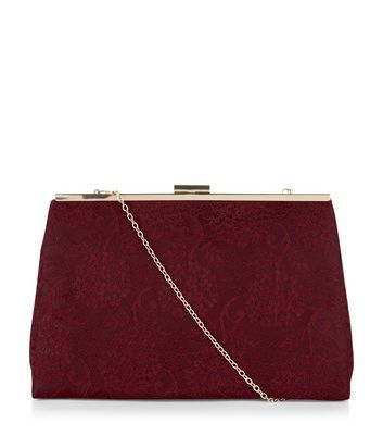 Burgundy Lace Clutch - predominant colour: burgundy; occasions: evening; type of pattern: standard; style: clutch; length: hand carry; size: small; material: fabric; pattern: plain; finish: plain; season: a/w 2016; wardrobe: event