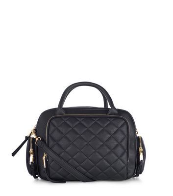 Black Quilted Bowler Bag - predominant colour: black; occasions: casual, creative work; type of pattern: standard; style: bowling; length: across body/long; size: standard; material: faux leather; embellishment: quilted; pattern: plain; finish: plain; wardrobe: investment; season: a/w 2016