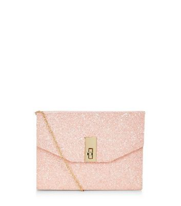 Stone Glitter Metal Trim Twist Lock Box Clutch - predominant colour: blush; occasions: evening, occasion; type of pattern: standard; style: clutch; length: hand carry; size: small; material: faux leather; embellishment: glitter; pattern: plain; finish: metallic; season: a/w 2016; wardrobe: event