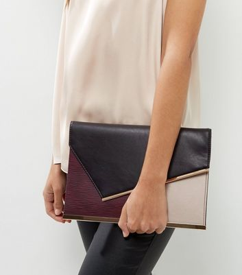 Burgundy Colour Block Panel Clutch - predominant colour: burgundy; secondary colour: black; occasions: evening; type of pattern: light; style: clutch; length: hand carry; size: small; material: faux leather; finish: plain; pattern: colourblock; season: a/w 2016; wardrobe: event