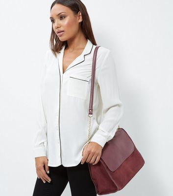 Burgundy Leather Look Satchel - predominant colour: burgundy; occasions: casual, work, creative work; type of pattern: standard; style: satchel; length: across body/long; size: standard; material: faux leather; pattern: plain; finish: plain; season: a/w 2016; wardrobe: highlight